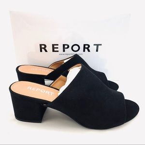 Report Women's Black Haiden Heeled Mules NEW 10